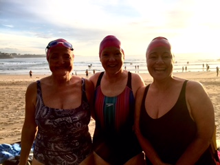 Val's first swim with Lisa and Barbara