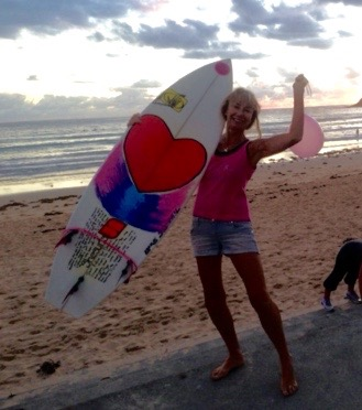 Me and heart surfboard