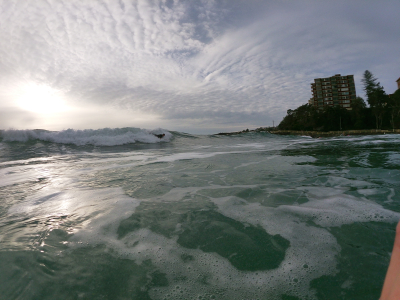 Going home through the surf