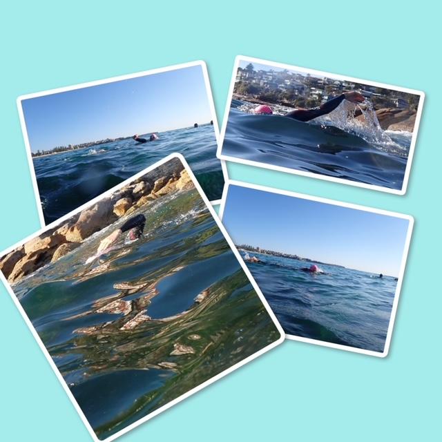Swimmer various blue