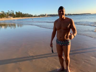 Stirling runs on beach